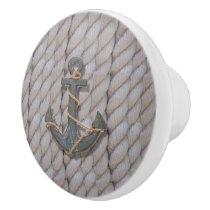 rustic coastal beach nautical rope wood anchor ceramic knob
