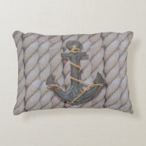 rustic coastal beach nautical rope wood anchor decorative pillow