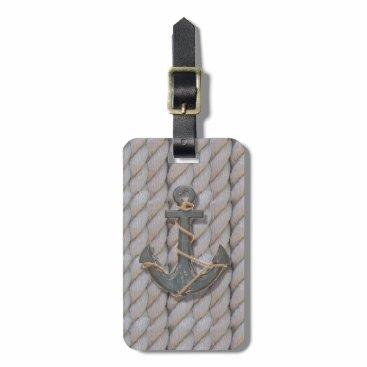 rustic coastal beach nautical rope wood anchor luggage tag