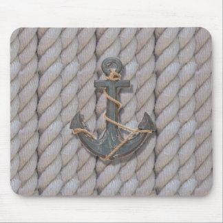 rustic coastal beach nautical rope wood anchor mouse pad