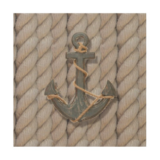 rustic coastal beach nautical rope wood anchor wood wall art