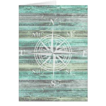 Beach Themed Rustic Coastal Compass Rose Card