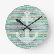 Rustic Coastal Decor Anchor Round Clock
