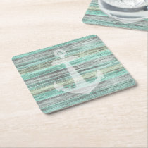 Rustic Coastal Decor Anchor Square Paper Coaster