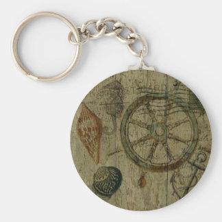 Rustic Coastal Driftwood Nautical Helm Wheel Keychain