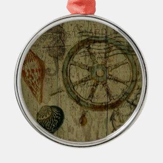 Rustic Coastal Driftwood Nautical Helm Wheel Metal Ornament