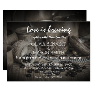 Rustic Coffee Bean-Love is Brewing Wedding Card