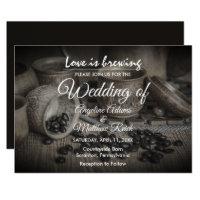 Rustic Coffee Bean-Love is Brewing Wedding Card