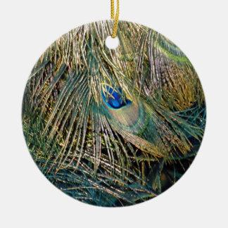 Rustic Color Peafowl Feathers Ceramic Ornament