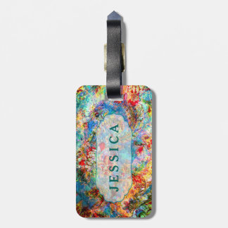 Rustic Colorful Floral Grunge Pattern Luggage Tag