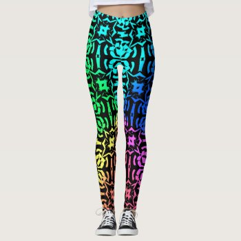 Rustic Colorful Funky Pattern Leggings by RainbowChild_Art at Zazzle