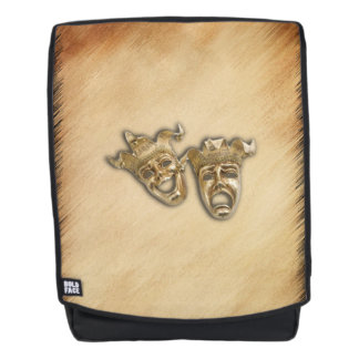 Rustic Comedy and Tragedy Theater Masks Backpack