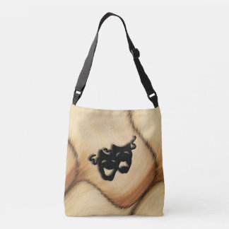 Rustic Comedy and Tragedy Theater Masks Crossbody Bag