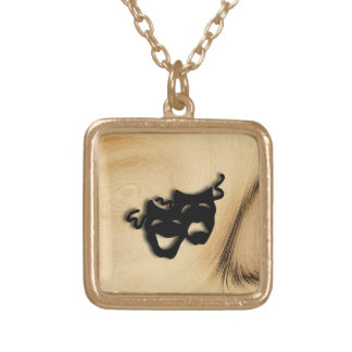 Rustic Comedy and Tragedy Theater Masks Gold Plated Necklace