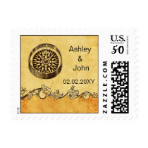 rustic compass nautical, beach  wedding stamps
