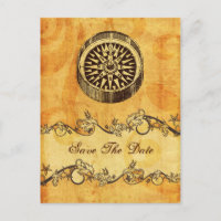rustic compass nautical wedding save the date announcement postcard