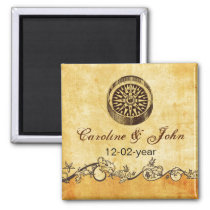 rustic compass nautical wedding save the date magnet