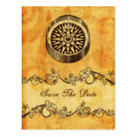 rustic compass nautical wedding save the date postcards