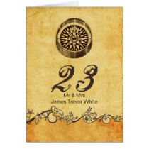 rustic compass nautical wedding table numbers card