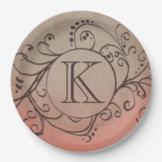 Rustic Coral and Beige Bohemian Flourish Paper Plate
