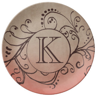 Rustic Coral and Beige Bohemian Flourish Plate