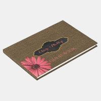 Rustic Coral Daisy | Burlap Wedding Guest Book