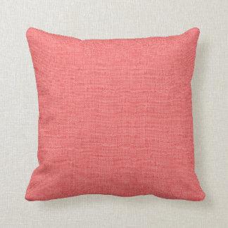 Rustic Coral Faux Burlap Accent Pillow