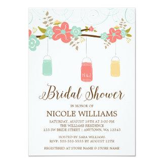 Rustic Coral Mint Mason Jar Branch Bridal Shower Card