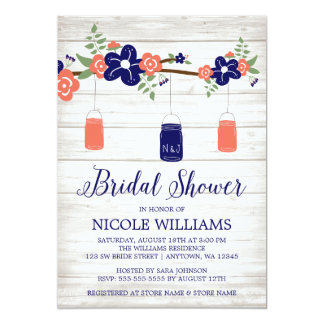 Rustic Coral Navy Mason Jar Branch Bridal Shower Card