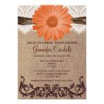 Rustic Coral Peach Flower Bridal Shower Invitation Personalized Announcement