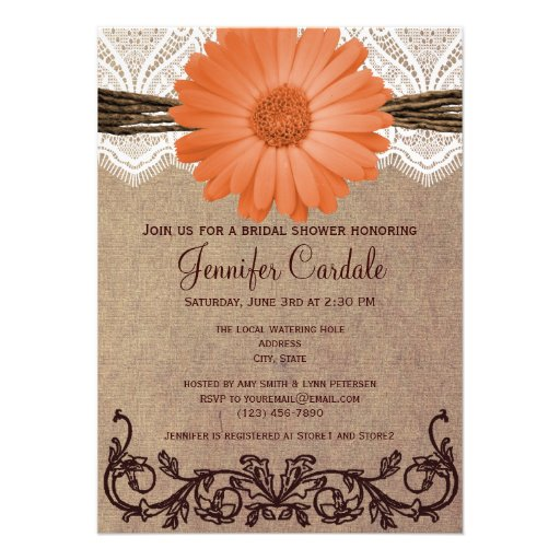 Rustic Coral Peach Flower Bridal Shower Invitation