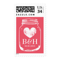 Rustic coral pink mason jar 35 cent wedding stamps