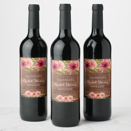Rustic coral watercolored flowers bridal shower wine label