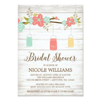 Rustic Coral Wood Mason Jar Branch Bridal Shower Card