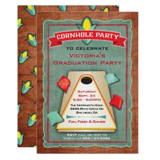 Rustic Cornhole Bean Bag Toss Party Invitation