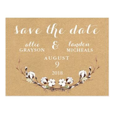 Beach Themed Rustic Cotton Save the Date Postcard