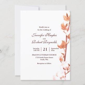 Rustic Cotton Wedding Invitation