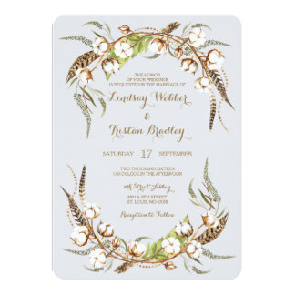 Rustic Cotton Wreath Feathers Wedding Card
