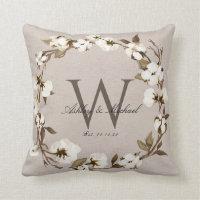 Rustic Cotton Wreath Monogram Wedding Keepsake Throw Pillow