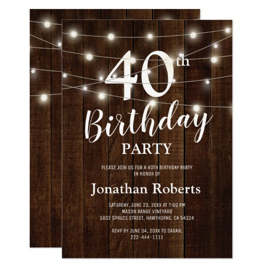 Rustic Country 40th Birthday Party