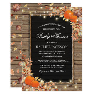 Rustic Country Autumn Fall Baby Shower Invitation