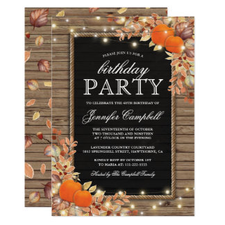 Rustic Country Autumn Fall Birthday Party Card