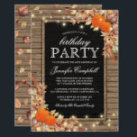 "Rustic Country Autumn Fall Birthday Party Invitation<br><div class=""desc"">Rustic harvest birthday party invitations featuring a country chic wooden background,  black chalkboard centrepiece,  rope,  halloween pumpkins,  fall foliage,  acorns,  a scattering of autumn leaves,  string twinkle lights and a personalized party invitation text template.</div>"