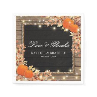 Rustic Country Autumn Fall Lights Wedding Napkin