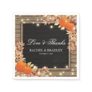 Rustic Country Autumn Fall Lights Wedding Napkins