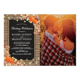 Rustic Country Autumn Fall Photo Wedding Invitation