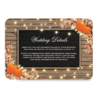 Rustic Country Autumn Fall Wedding Details Card