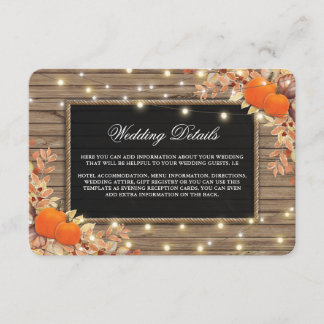 Rustic Country Autumn Fall Wedding Details Enclosure Card