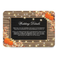 Rustic Country Autumn Fall Wedding Details Invitation
