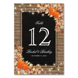 Rustic Country Autumn Fall Wedding Table Numbers